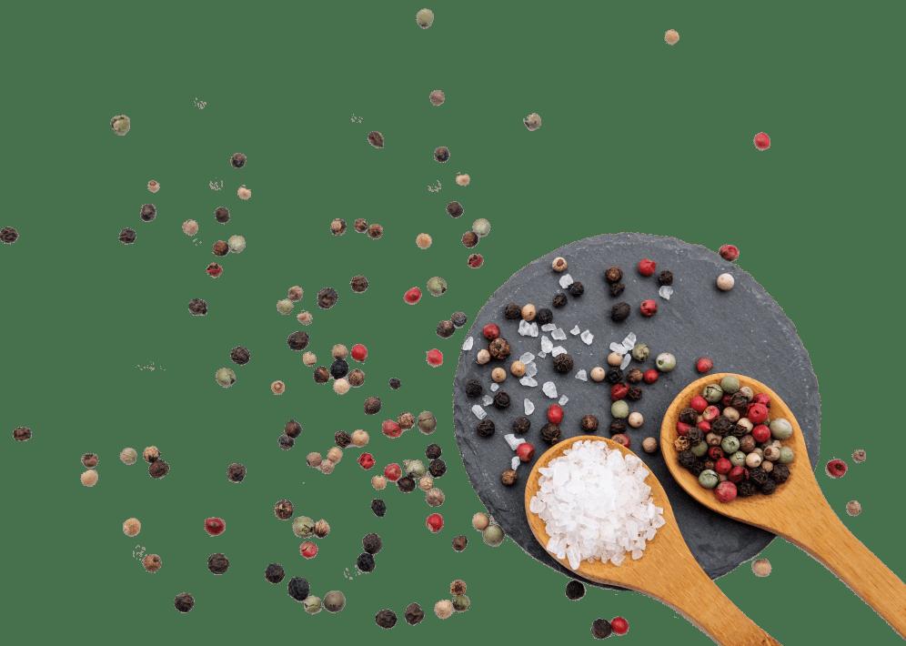 sel et épices étalés